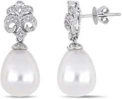 South Sea Cultured Pearl (10.5-11mm) and Diamond (1/7 ct. t.w.) Floral Drop Earrings in 18k White Gold