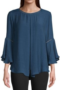 Pleat-Front High-Low Top