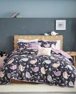 Kids Magical Narwhals Reversible 4-Piece Twin Coverlet Set Bedding