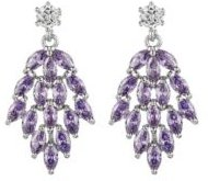 Silver-Tone Amethyst Accent Chandelier Earrings