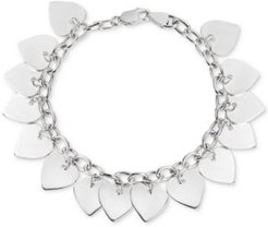 Polished Heart Charm Bracelet in Sterling Silver, Created for Macy's