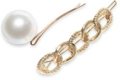 Gold-Tone 2-Pc. Set Imitation Pearl & Link Bobby Pins. Created for Macy's
