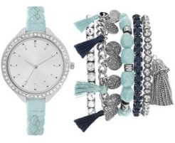 Mint Braided Faux Leather Strap Watch 40mm Gift Set