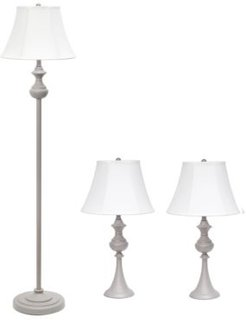 Elegant Designs Traditionally Crafted 3 Pack Lamp Set 2 Table Lamps, 1 Floor Lamp Shades