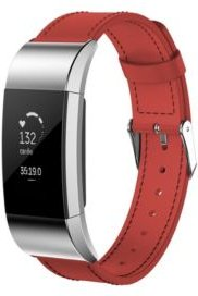 Unisex Fitbit Charge 3 Red Genuine Leather Watch Replacement Band