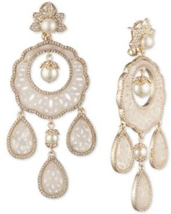 Gold-Tone Crystal & Mother-of-Pearl Lace Chandelier Earrings