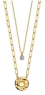 Gold Flash Plated Sun Disk Layered Pendant Necklace with Cubic Zirconia Pendant