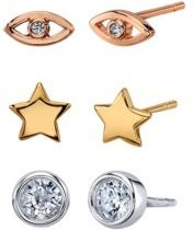 Three Pair Tri-Tone Silver Plated Star, Evil Eye, and Clear Cubic Zirconia Stud Earring Set