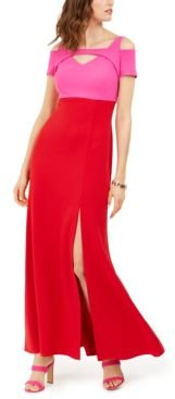 Colorblocked Cold-Shoulder Gown