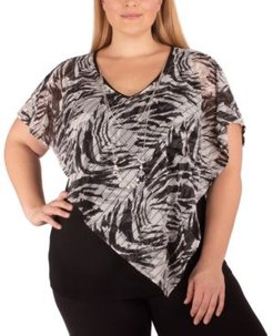 Plus Size Layered-Look Poncho