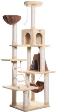Cat Climber Play House, Cat Furniture with Playhouse and Lounge Basket