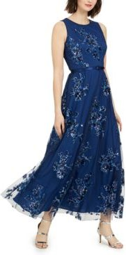Petite Sequin Floral-Print Belted Gown