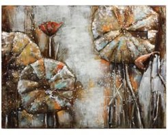 """Water Lilly Pads 1 Mixed Media Iron Hand Painted Dimensional Wall Art, 36"""" x 48"""" x 2.4"""""""