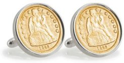 Gold-Layered Seated Liberty Silver Dime Sterling Silver Coin Cuff Links