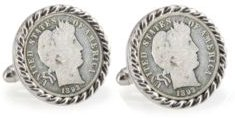 1800's Silver Barber Dime Rope Bezel Coin Cuff Links