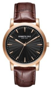 3 Hands Slim Rose-Gold plated Stainless Steel Watch on Brown Genuine Leather Strap, 44mm