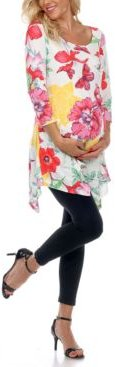 Maternity Plus Size Floral Scoop Neck Tunic Top