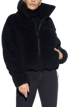 Faux-Sherpa Puffer Teddy Coat, Created for Macy's