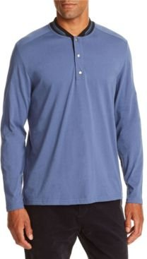 Slim-Fit Dark Blue Long Sleeve Henley and a Free Face Mask With Purchase