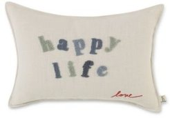 """14"""" L x 20"""" W Happy Life Embroidered Lumbar Pillow Bedding"""