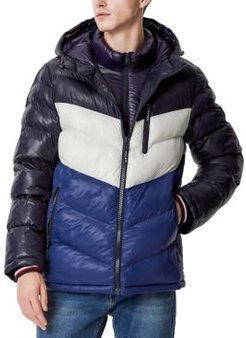 Chevron Hooded Puffer Jacket with Attached Bib