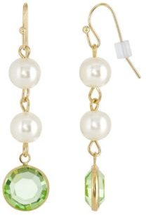 2028 Gold-Tone Imitation Pearl with Light Green Channels Drop Earring