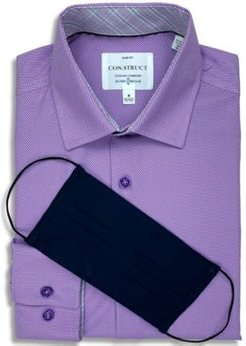Receive a Free Face Mask with purchase of the Con. Struct Men's Slim-Fit Performance Stretch Purple Texture Cooling Comfort Dress Shirt