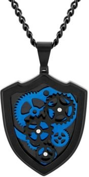 Gear and Shield Pendant Necklace in Two-Tone Stainless Steel