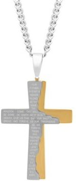 The Lord's Prayer Tablet Cross Pendant Necklace in Two-Tone Stainless Steel