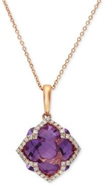 Lavender Rose by Effy Amethyst (5-3/4 ct. t.w.) and Diamond (1/5 ct. t.w.) Clover Pendant in 14k Rose Gold