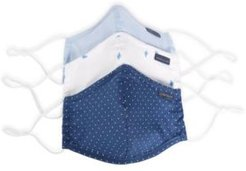 and Women's Reusable Rounded Woven Fabric Face Masks, Pack of 3