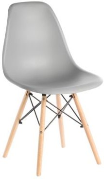 Mid-Century Modern Style Plastic Shell Dining Chair with Solid Beech Wooden Dowel Eiffel Legs