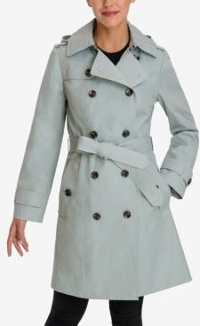 Petite Double-Breasted Hooded Trench Coat
