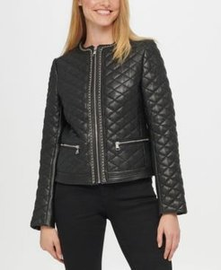 Quilted Chain Leather Jacket