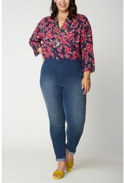 Plus Size Skinny Ankle Pull-On Jeans in Cool Embrace Denim with Roll Cuffs