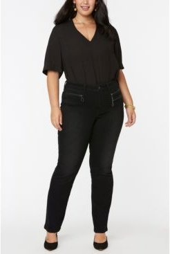 Plus Size Marilyn Straight Jeans in Future Fit Denim with Zipper Detail