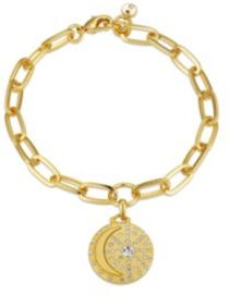 """Gold Flash-Plated Link Bracelet with Crystal """"I Love You to the Moon & Back"""" Charm"""