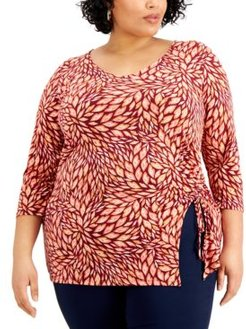 Plus Size Perla Printed Ruched Top, Created for Macy's