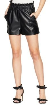 Paper-Bag Pull-On Faux-Leather Shorts