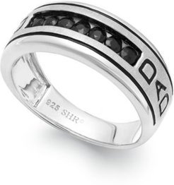 Black Sapphire Engraved Dad Ring in Sterling Silver (3/4 ct. t.w.)