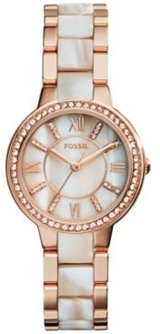 Virginia Shimmer Horn and Rose Gold-Tone Stainless Steel Bracelet Watch 30mm ES3716