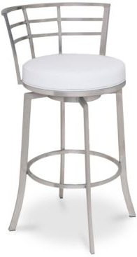 """Viper 26"""" Counter Height Swivel Barstool in Brushed Stainless Steel finish with Black Faux Leather"""