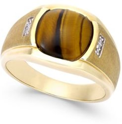 Tiger Eye (10mm) and Diamond Accent Ring in 10k Gold