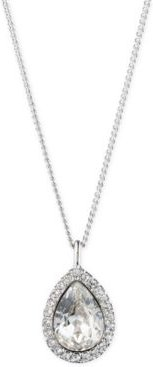 "Pave & Stone Pear Pendant Necklace, 16"" + 3"" extender, Created for Macy's"