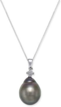 Cultured Baroque Tahitian Black Pearl (12mm) and Diamond (1/10 ct. t.w.) Pendant Necklace in 14k White Gold