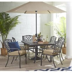 """Park Gate Outdoor Cast Aluminum 7-Pc. Dining Set (68"""" x 38"""" Dining Table and 6 Dining Chairs), Created for Macy's"""