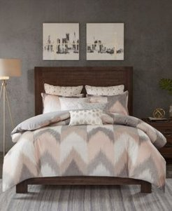 Alpine Cotton Reversible Full/Queen Chevron Stripe Print Duvet Mini Set Bedding