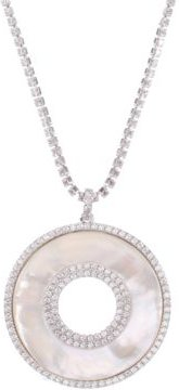 """Silver-Tone Cubic Zirconia & Mother-of-Pearl Pendant Necklace, 17"""" + 3"""" extender"""