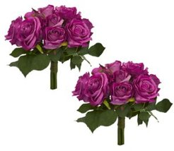 Purple Rose Bush Artificial Bouquet, Set of 2