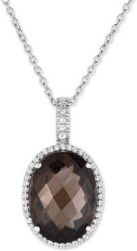 Smoky Quartz (15 ct. t.w.) and White Topaz (3/8 ct. t.w.) Large Oval Pendant Necklace in Sterling Silver
